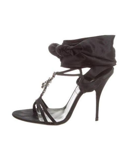58efde6df3b Givenchy - Black Satin Embellished Sandals - Lyst ...