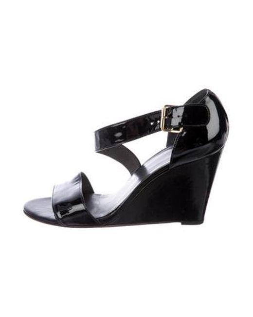 26dee2230f39 Stuart Weitzman - Black Patent Leather Sandal Wedges - Lyst ...