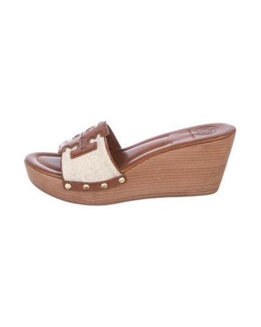 0cfcf4636 Tory Burch - Brown Leather Slide Wedges W  Tags - Lyst ...