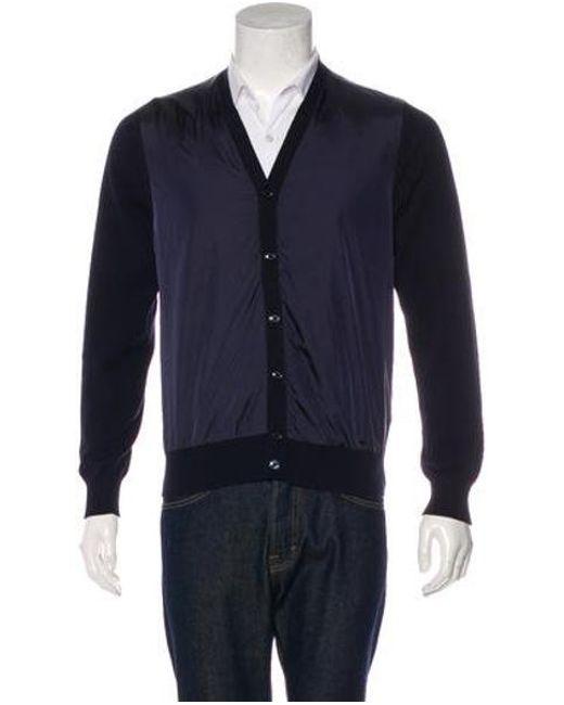 Moncler - Blue Nylon & Knit Cardigan Navy for Men - Lyst