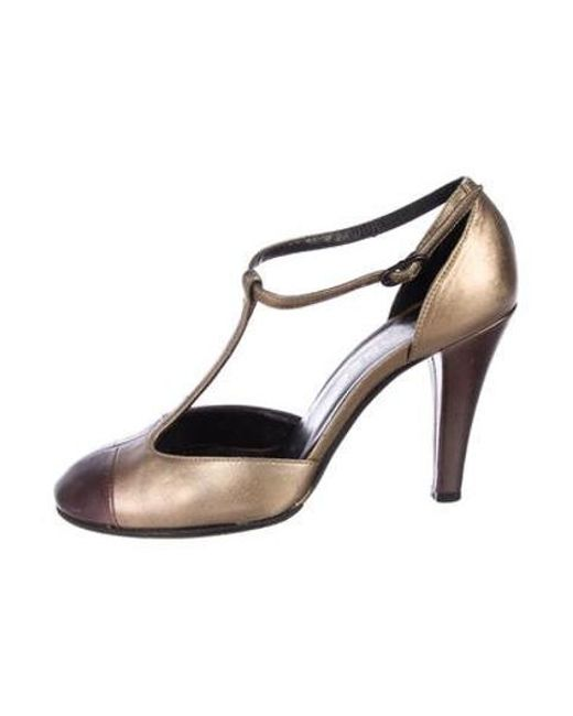 504c8fca4055 Chanel - Metallic T-strap Pumps - Lyst ...