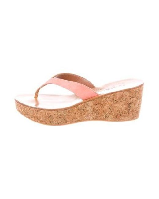 d9f7151a4ba8 K. Jacques - Pink Suede Thong Sandals - Lyst ...