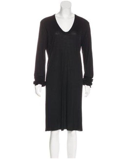 Lyst Rick Owens Long Sleeve Knee Length Dress In Black