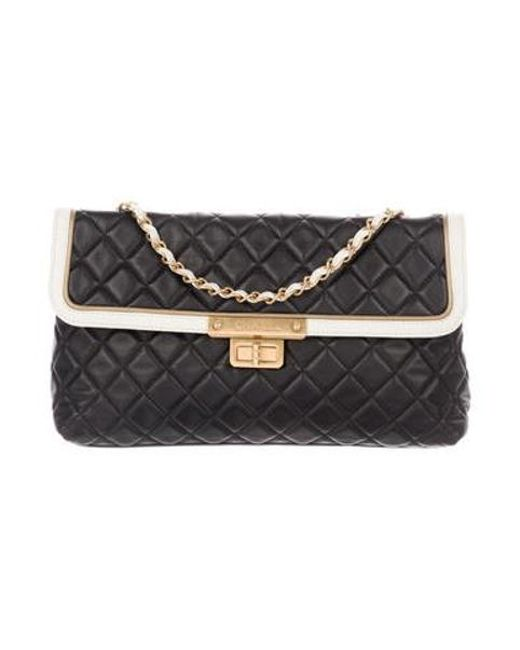 Chanel Metallic Quilted E W Flap Bag Black Lyst