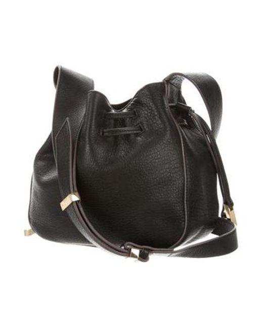 a9aa63f5cf ... Halston Heritage - Metallic Grained Leather Small Bucket Bag Black -  Lyst ...