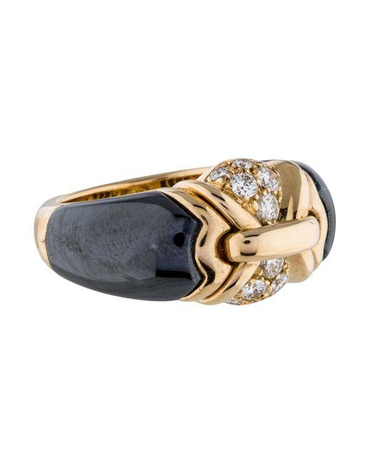 BVLGARI | Metallic 18k Vintage Diamond And Hematite Ring Yellow | Lyst