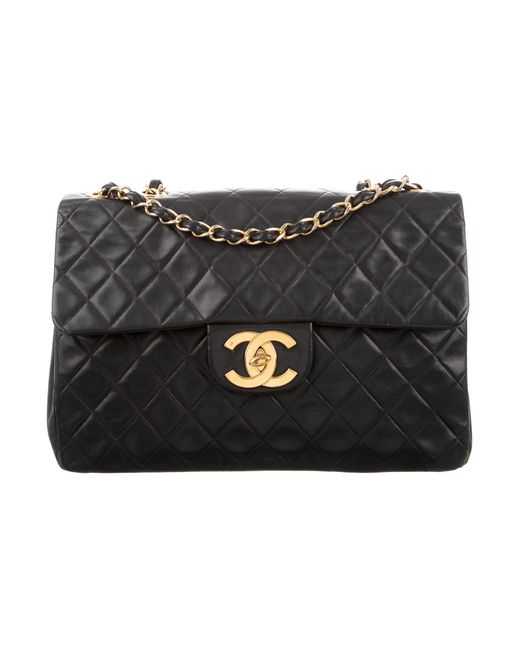 Chanel   Metallic Classic Maxi Single Flap Bag Black   Lyst