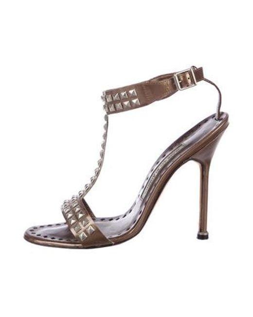 825ecc6cd2dc Manolo Blahnik - Metallic Leather Strap Studded Sandals Brown - Lyst ...