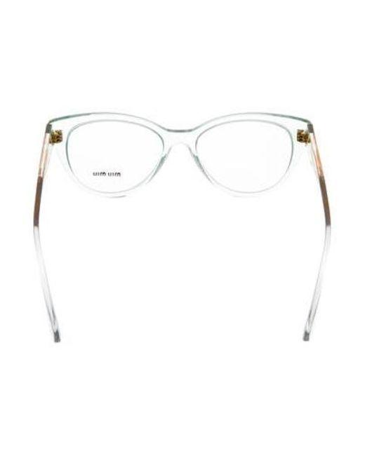 0df3e06c70 ... Miu Miu - Yellow Miu Cat-eye Frame Eyeglasses Blue - Lyst ...