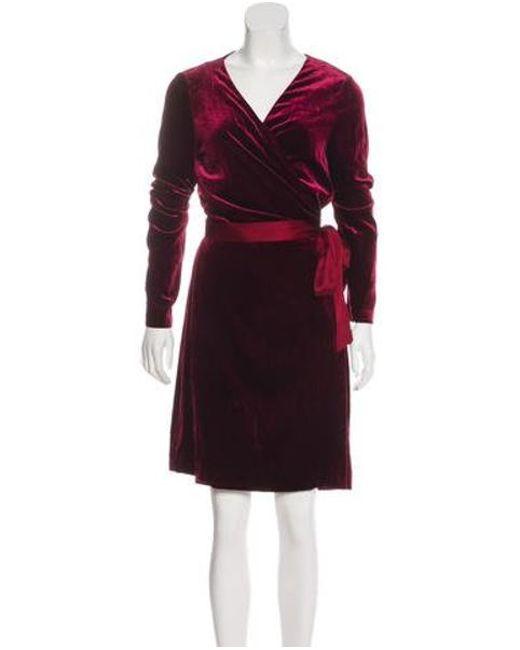 0e309785b53f Diane von Furstenberg - Red Velvet Long Sleeve Midi Dress W/ Tags - Lyst ...