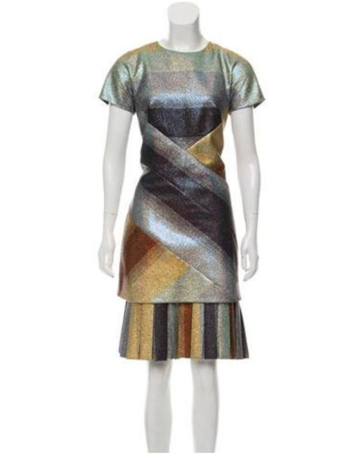 Marco De Vincenzo Blue Striped Metallic Dress Lyst