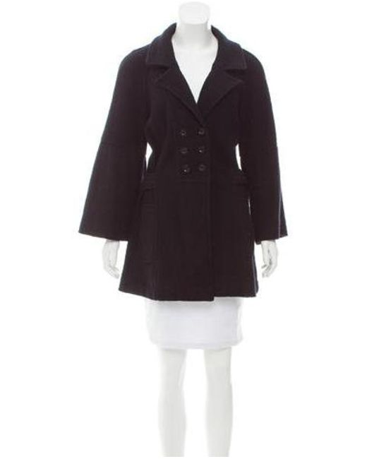 Sandro - Black Double-breasted Wool Coat - Lyst