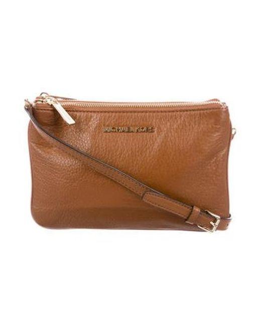8164523ddc73 MICHAEL Michael Kors - Metallic Michael Kors Leather Bedford Crossbody Bag  Brown - Lyst ...