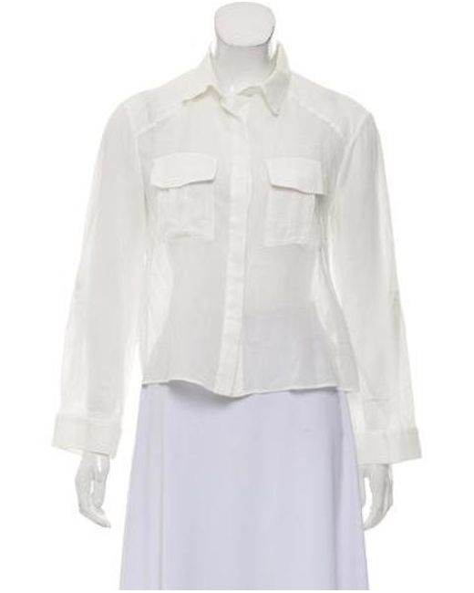 9365f5ea55bbd Alice + Olivia - White Crop Button-up Top - Lyst ...