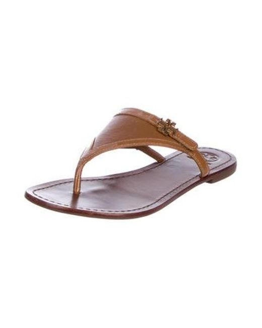 8ba830bb2d578d ... Tory Burch - Brown Leather Thong Sandals - Lyst ...