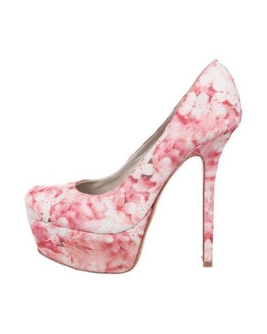 e0e592835e6 Alice + Olivia - Pink Floral Platform Pumps - Lyst ...