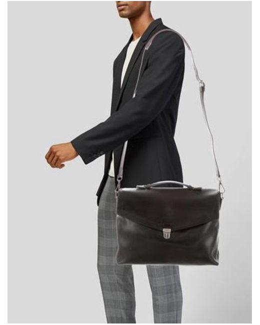 47bb26def3 ... Ferragamo - Metallic Leather Messenger Bag Black for Men - Lyst ...