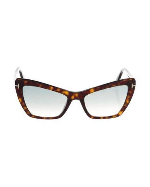 63c57433b98 Tom Ford - Metallic Valesca Cat-eye Sunglasses Brown - Lyst ...