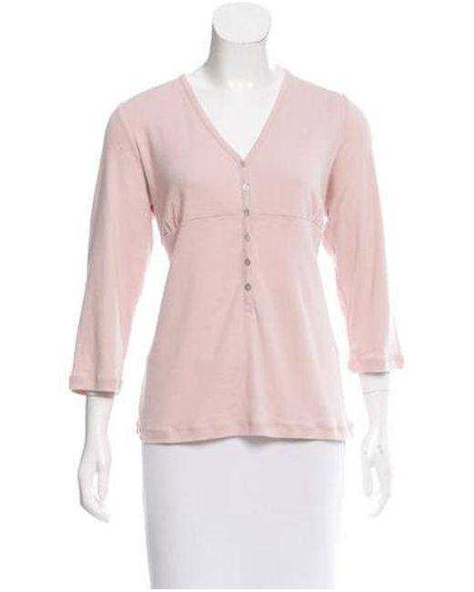 Rag & Bone - Pink Three-quarter Sleeve V-neck Top - Lyst