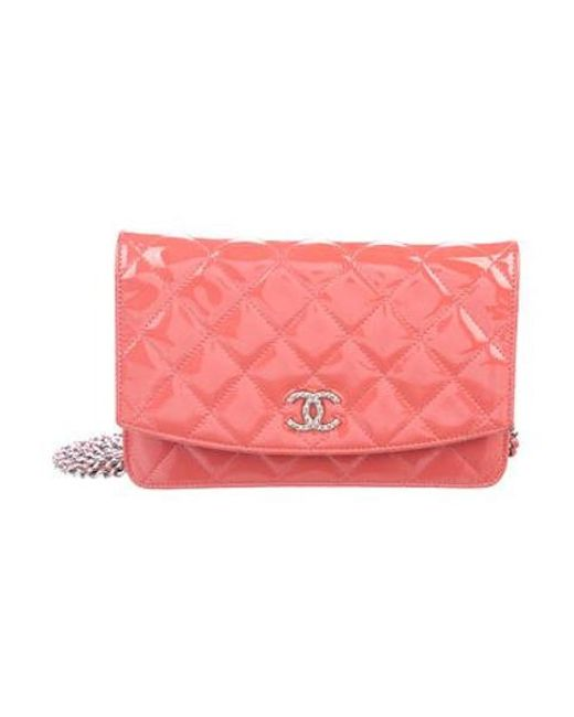 a93785a36abb Chanel - Metallic Brilliant Wallet On Chain Coral - Lyst ...