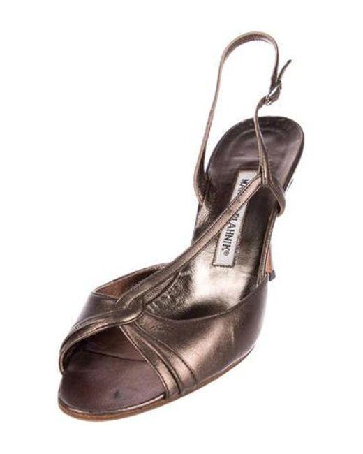 4860c313a2b ... Manolo Blahnik - Gray Metallic Slingback Sandals Pewter - Lyst ...