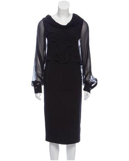 7e7c3a491ba62 Brunello Cucinelli - Black Silk-accented Midi Dress - Lyst ...