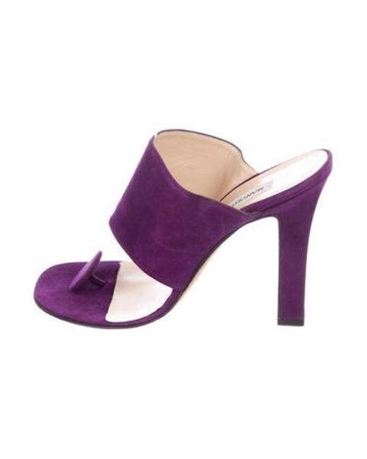 4ebc06f0bc4d Manolo Blahnik - Purple Suede Slide Sandals - Lyst ...