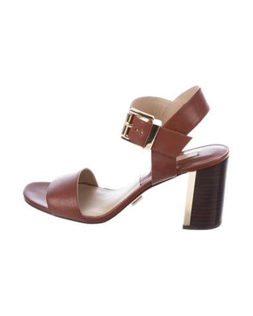 81006e36321 Michael Kors - Metallic Leather Ankle-strap Sandals Gold - Lyst ...