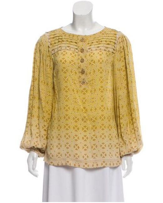 eb6ac172b4a32d Tory Burch - Yellow Silk Printed Blouse Multicolor - Lyst ...