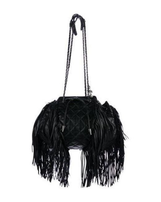 Lyst - Chanel Paris-dallas Drawstring Fringe Bag Black in Metallic ... 8604a9e9e565a