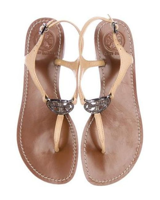 6a174e22df72c2 ... Tory Burch - Natural Leather Logo Sandals Nude - Lyst ...