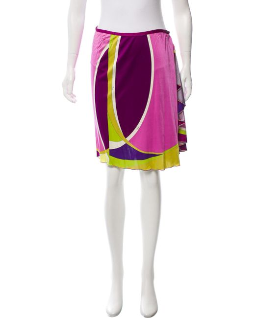 Emilio Pucci - Purple Printed Knee-length Skirt W/ Tags - Lyst