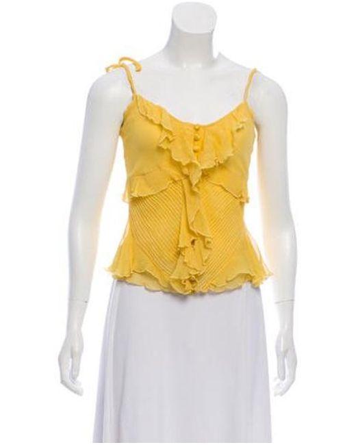 7658bd3fa3dad Diane von Furstenberg - Yellow Sleeveless Silk Top - Lyst ...