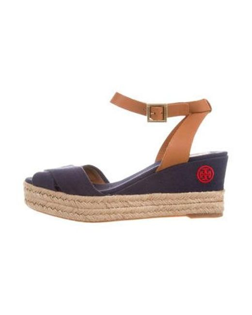 031c0d1cb807 Tory Burch - Metallic Crossover Platform Wedge Sandals Navy - Lyst ...