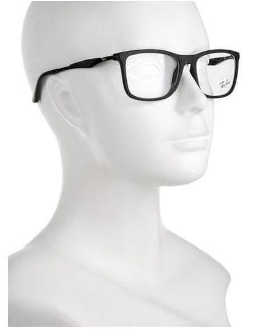 lyst ray ban square logo eyeglasses in black for men  ray ban black square logo eyeglasses for men lyst