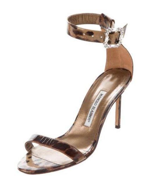 44c7dd93dfd6 ... Manolo Blahnik - Brown Patent Leather Ankle-strap Sandals - Lyst ...