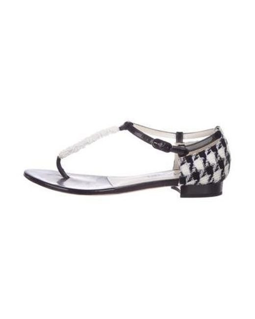 3b7188d4f7cab Chanel - Black Cc Embellished Sandals - Lyst ...