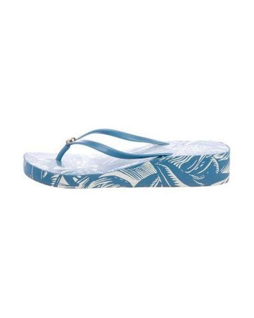 a2f45a78cc78 Tory Burch - Metallic Thandie Wedge Sandals Blue - Lyst ...