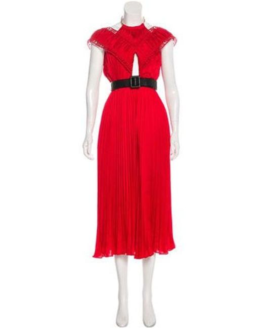 ddcf580df6ff5 Self-Portrait - Metallic Sleeveless Evening Dress W/ Tags Red - Lyst ...