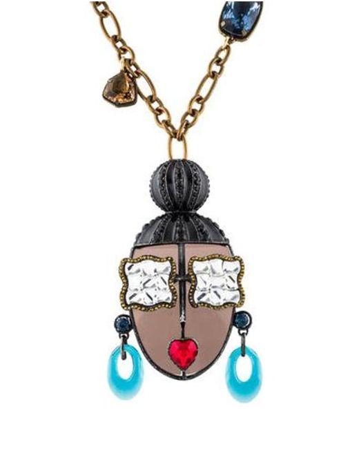 Lanvin - Metallic Zandra Face Pendant Necklace Brass - Lyst