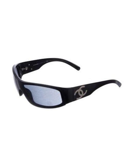 6d3c06024811e ... Chanel - Metallic Cc Shield Sunglasses Black - Lyst ...