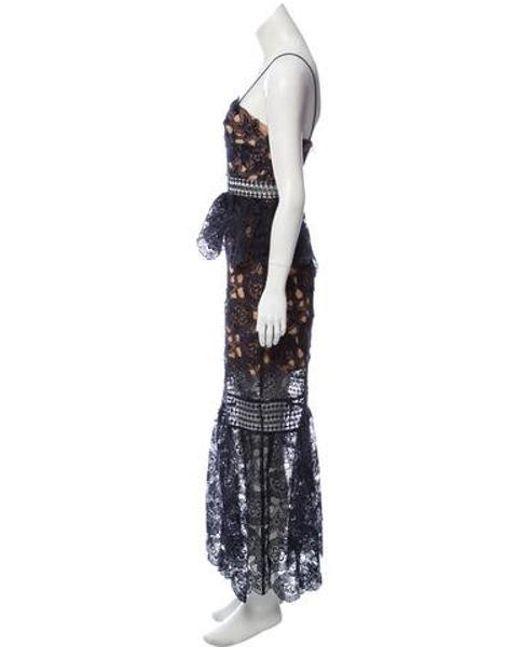 1ecef47833afc ... Self-Portrait - Blue Crochet Evening Dress Navy - Lyst ...