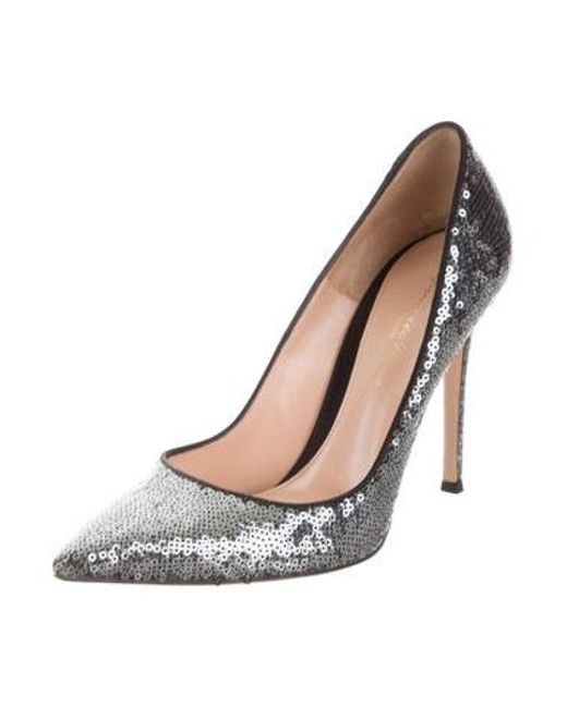be36c0198a17 ... Gianvito Rossi - Gray Sequin Pointed-toe Pumps Grey - Lyst ...