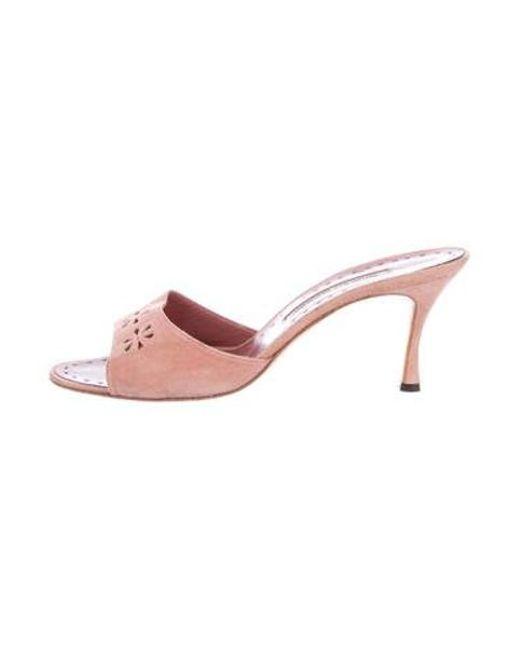 8dd63249e553 Manolo Blahnik - Pink Suede Slide Sandals - Lyst ...