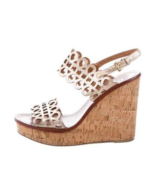 c9185e615358 Tory Burch - Metallic Leather Wedge Sandals Gold - Lyst ...