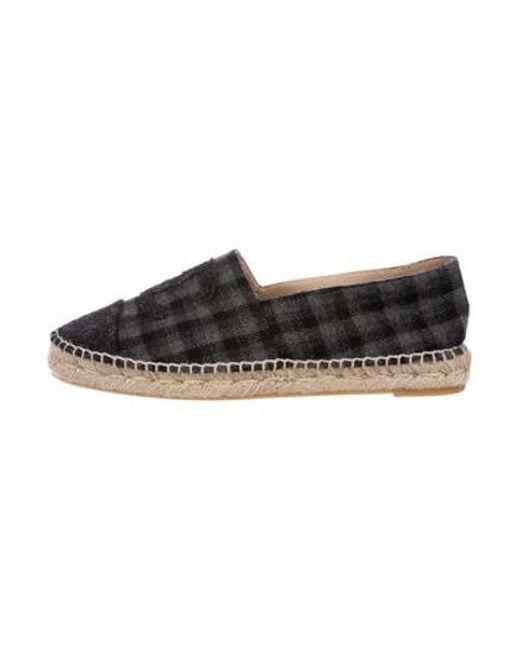 Chanel - Blue Plaid Cc Wool Espadrilles - Lyst