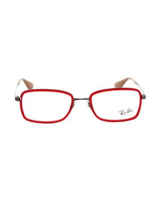 8103d07f5d Ray-Ban - Metallic Matte Square Eyeglasses Red for Men - Lyst ...