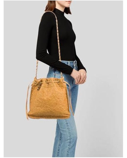 ... Chanel - Metallic Drawstring Camellia Bag Gold - Lyst ... 0aa228f1928e9