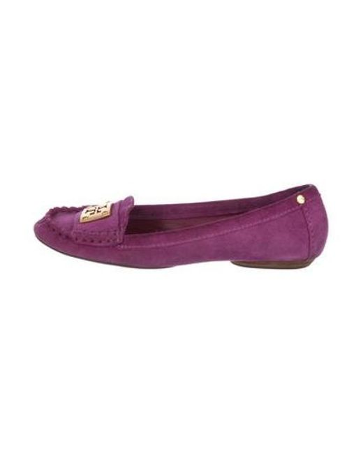 aa899987e240 Tory Burch - Metallic Suede Round-toe Loafers Purple - Lyst ...