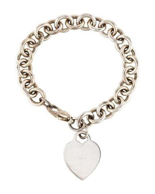Tiffany Co Metallic Heart Tag Charm Bracelet Silver